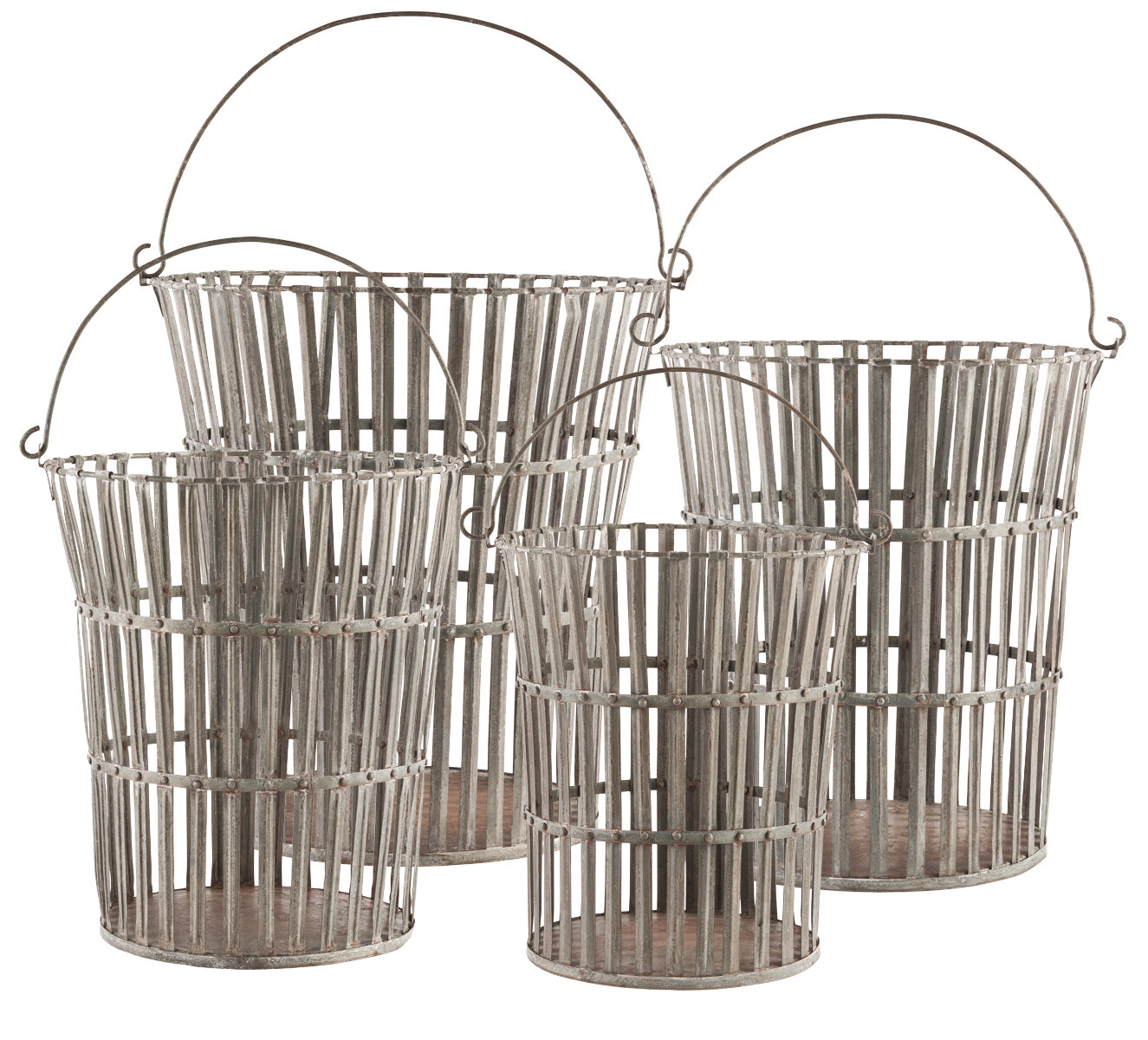 Tall Riveted Metal/Wire 4 Piece Basket Set By Aidan Gray