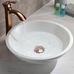ANZZI Egret Series Glass Circular Vessel Bathroom Sink