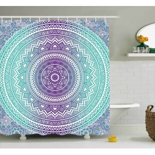 Parker Blue and Purple Mandala Ombre Eastern Mystic Abstract Old Fashion Bohemian Native Cosmos Art Single Shower Curtain