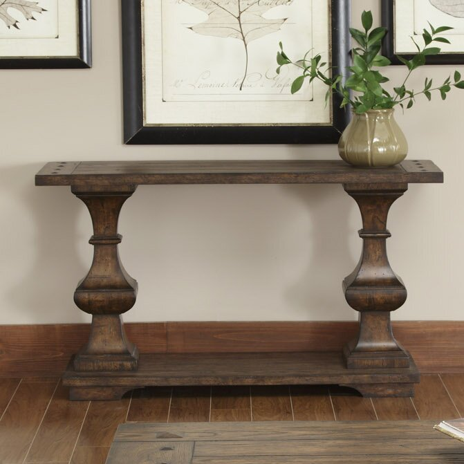 Darby Home Co Cravens Console Table Dbhc4030 on Chocolate Brown Living Room