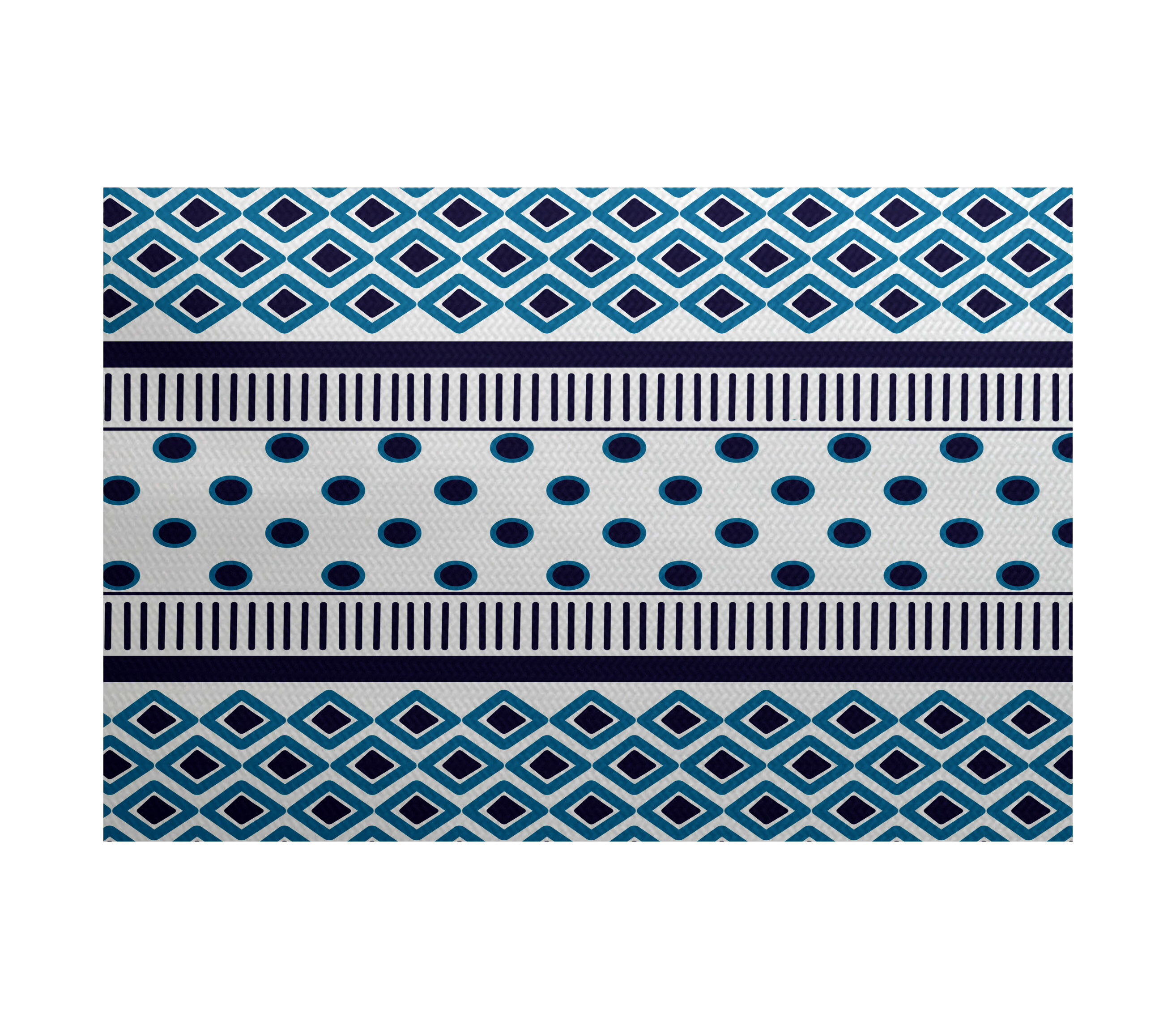 Ebern Designs Abbie Geometric Flatweave Blue Area Rug Wayfair