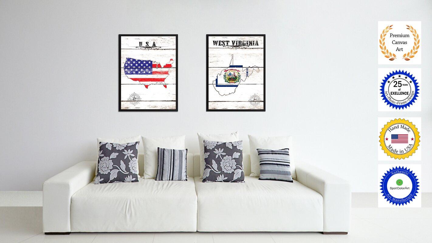 Wrought Studio \'West Virginia State Vintage Flag\' Framed Graphic Art ...