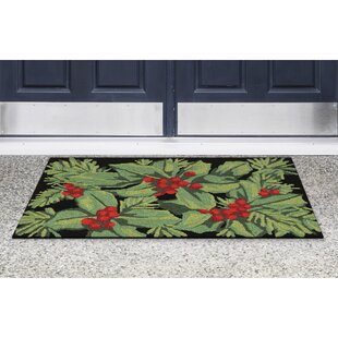 Inexpensive Hollyberries Hand-Tufted Black Indoor/Outdoor Area Rug ByThe Holiday Aisle