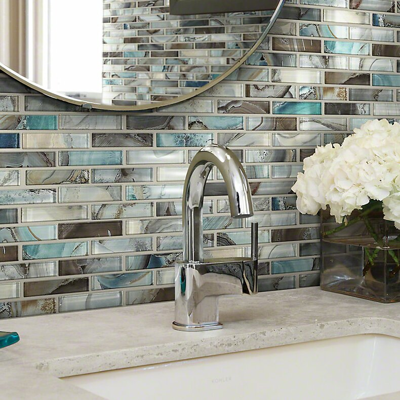 Shaw Floors Neptune 1 X 4 Glass Mosaic Tile In Glossy Silverbrown - Glass-tile-backsplash-pictures-collection