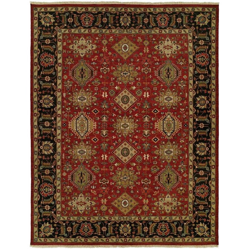 Alcott Hill Domingues Oriental Handwoven Wool Red Black Area Rug Wayfair