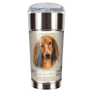 Howard Robinson's Red Longhair Dachshund 24 oz. Stainless Steel Travel Tumbler