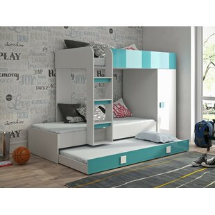Farrell European Single Triple Sleeper Bunk Bed With Shelf And Trundle By Isabelle & Max