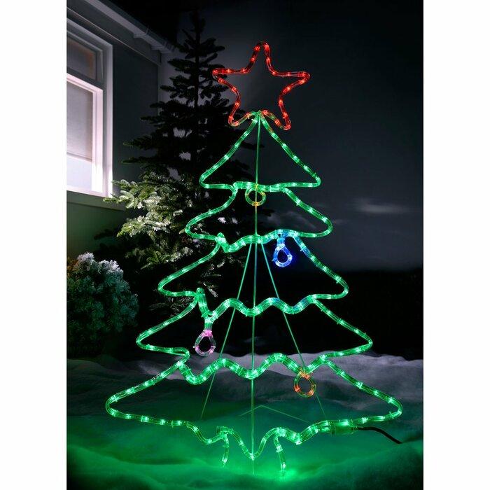 Lighted Christmas Tree.Pre Lit Christmas Tree Rope Lighted Display