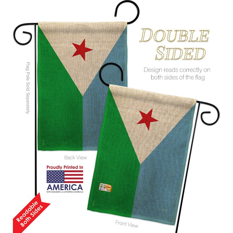 Breeze Decor Djibouti The World Nationality Impressions 2 Sided Burlap 19 X 13 In Flag Set Wayfair