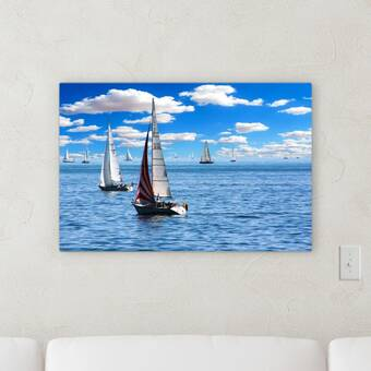 PRINTED POLYCOTTON FABRIC SAILING BOATS ON SKY BLUE BACKGROUND