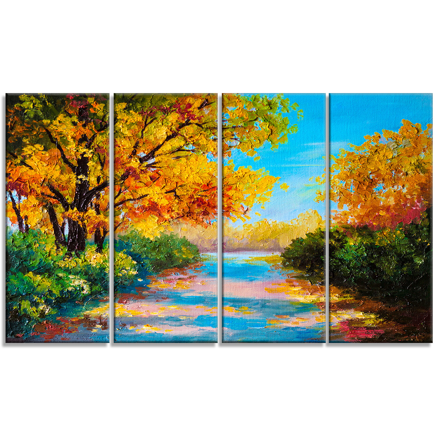 Designart Autumn Forest With Colorful River Landscape 4 Piece Painting Print On Wrapped Canvas Set Wayfair