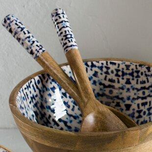 Hassa Enamel Coated Mango Wood Salad Serving Spoon