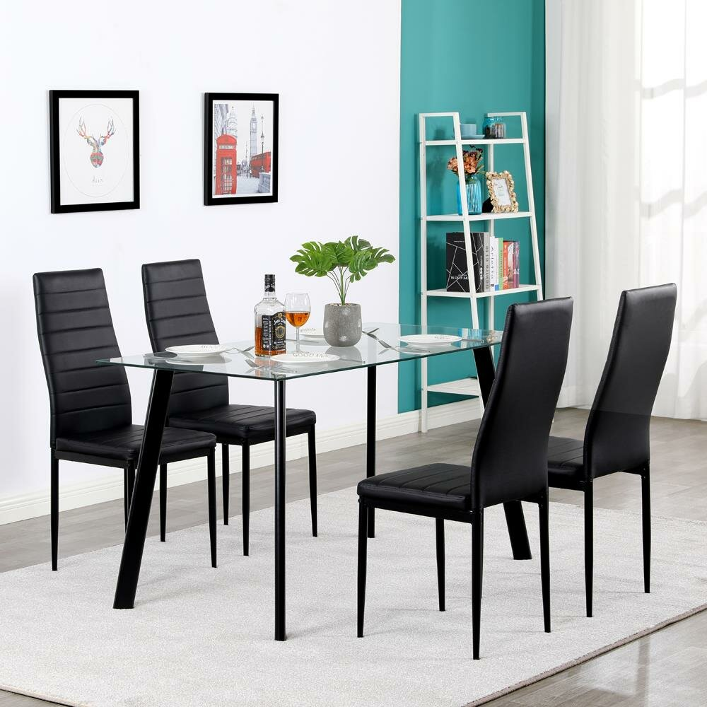 Orren Ellis New Modern 5 Pcs Dining Table Set With 4 Leather Chairs Kitchen Room Furniture Wayfair