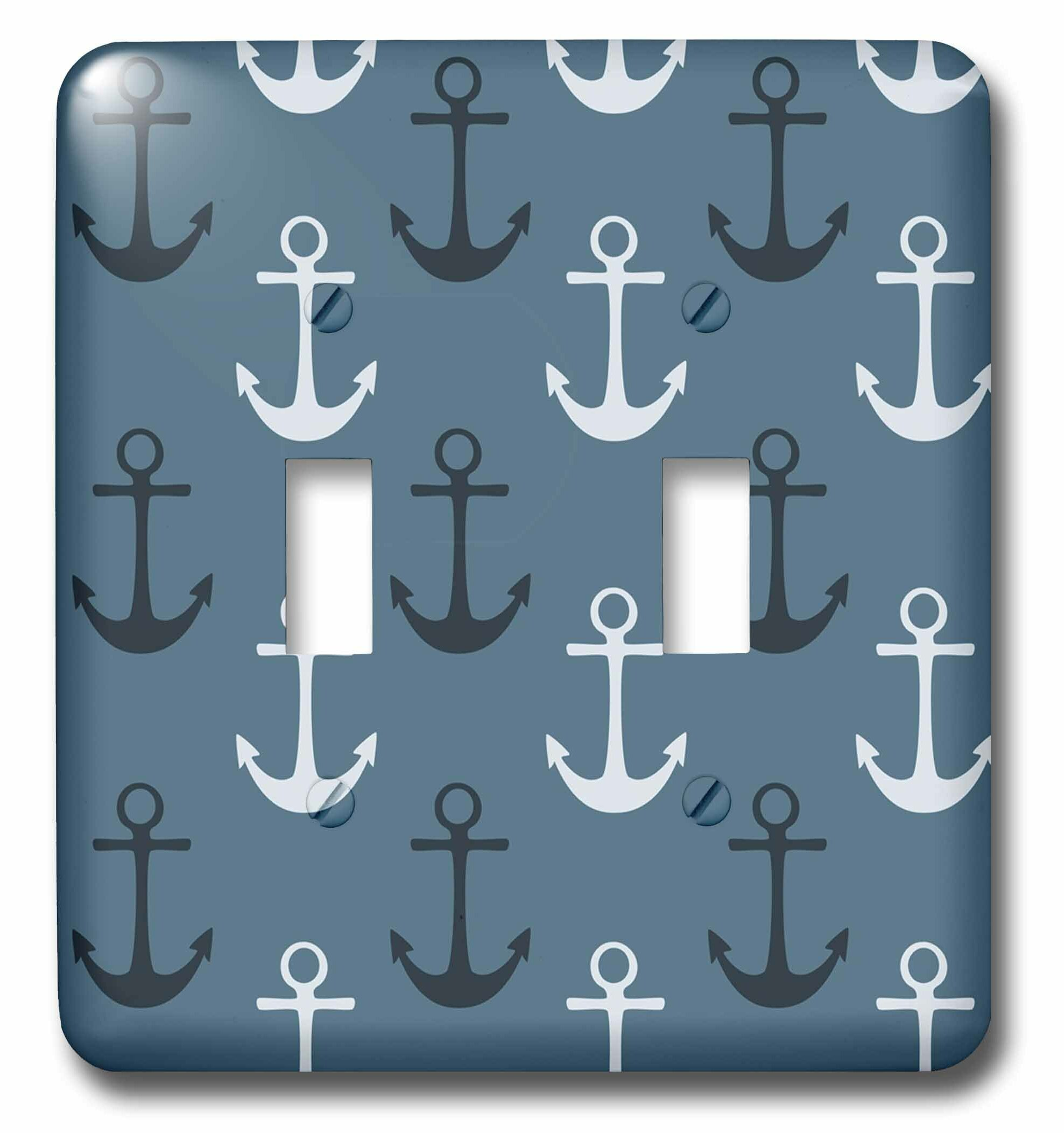 3drose Nautical Anchors In Beach Theme 2 Gang Toggle Light Switch Wall Plate Wayfair