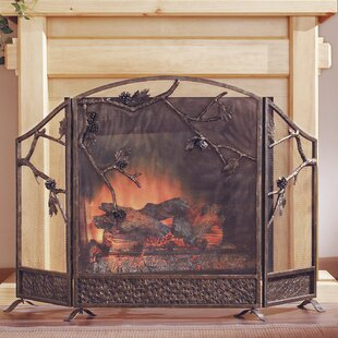 Pinecone 3 Panel Iron Fireplace Screen by SPI Home