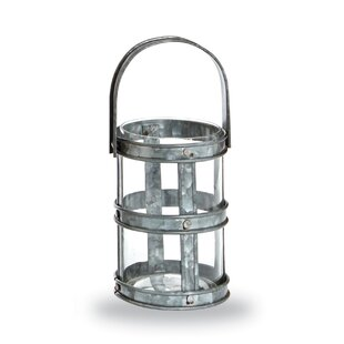 Mud Pie™ Farmhouse Galvanized Tin Strapping Metal Lantern