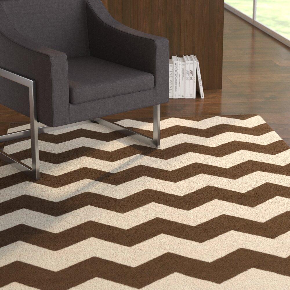 Ebern Designs Murguia Chevron Handwoven Wool Brown Beige Area Rug Reviews Wayfair
