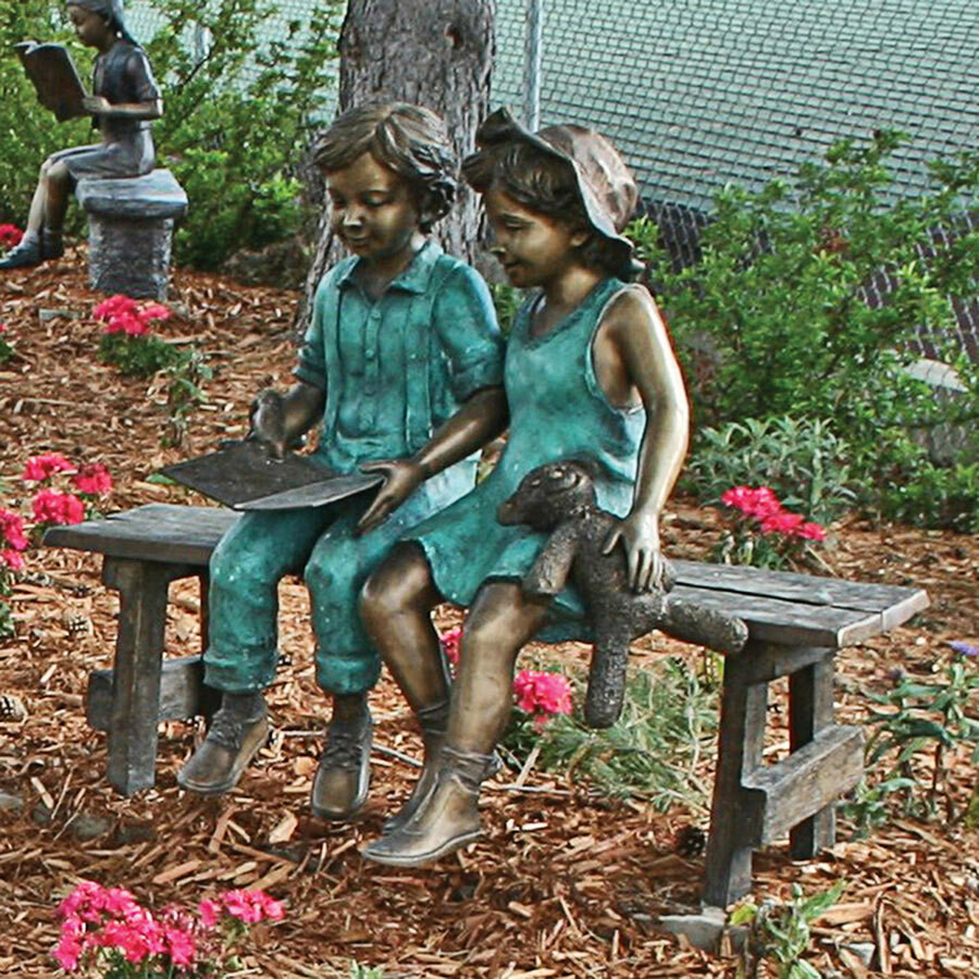 Cool Read To Me Boy And Girl On Bench Cast Garden Statue Spiritservingveterans Wood Chair Design Ideas Spiritservingveteransorg