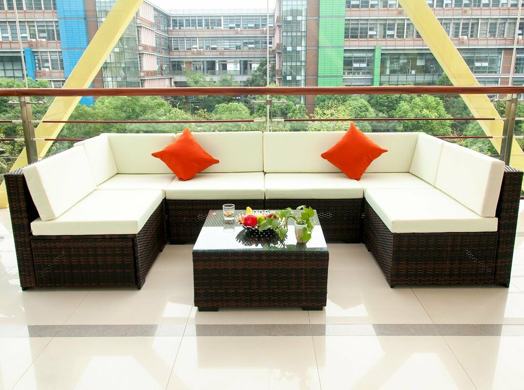 Superb Outdoor Patio PE Rattan 7 Piece Sectional Seating Group With Cushions