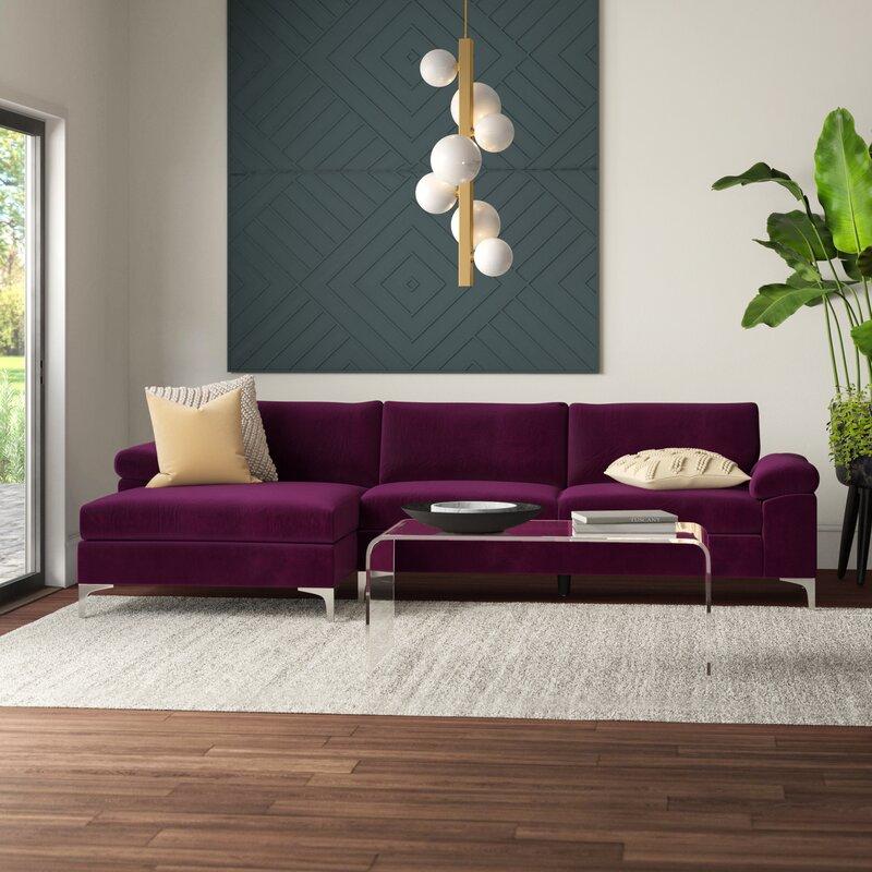 bold purple sofa