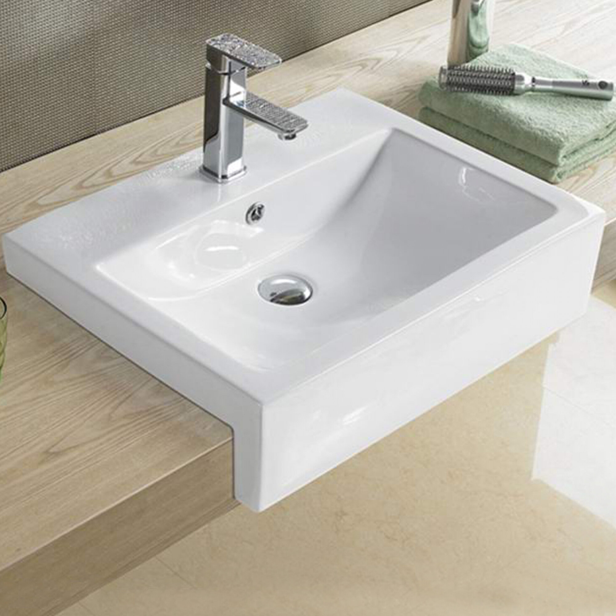 American Imaginations Above Counter For 1 Hole Center Drilling Ceramic Rectangular Vessel Bathroom Sink With Overflow Wayfair