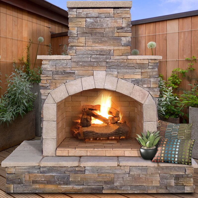 CalFlame Natural Stone Propane / Gas Outdoor Fireplace & Reviews ...