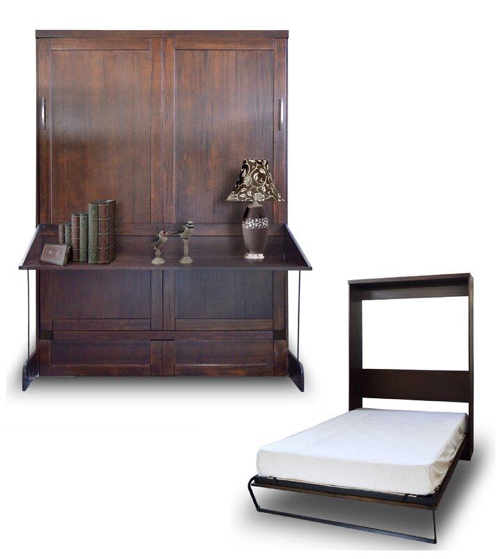 brayden studio delapaz contemporary queen solid wood murphy bed