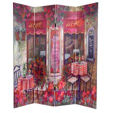 72 x 48 Double Sided Parisian Cafe 4 Panel Room Divider by Oriental Furniture