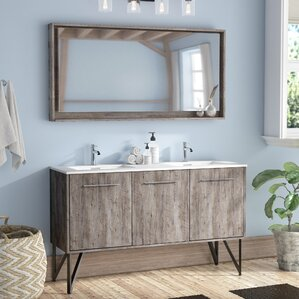 double bathroom vanity. Ellison Nature Wood 60  Double Bathroom Vanity with Mirror Modern Vanities AllModern
