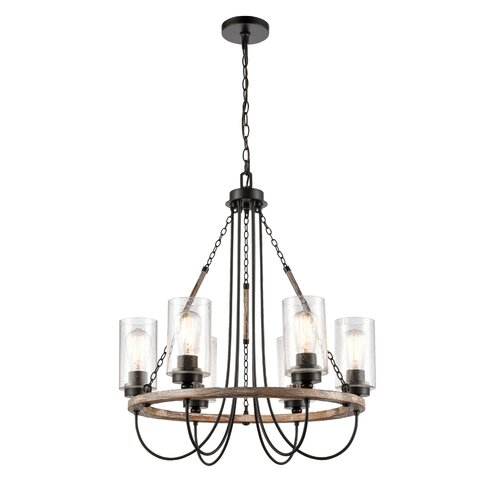 Gracie Oaks Eastborough 9 Light Candle Style Empire Chandelier With Wood Accents Wayfair