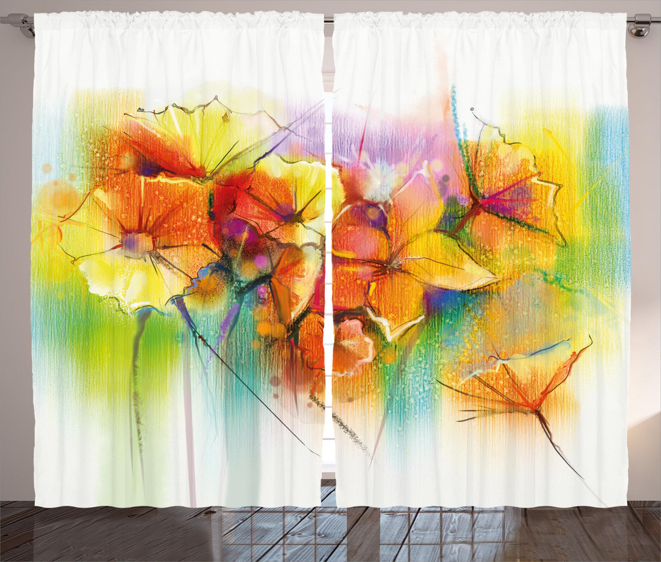 Red Barrel Studio Vandyne Watercolor Flower Graphic Print And Text Semi Sheer Rod Pocket Curtain Panels Wayfair