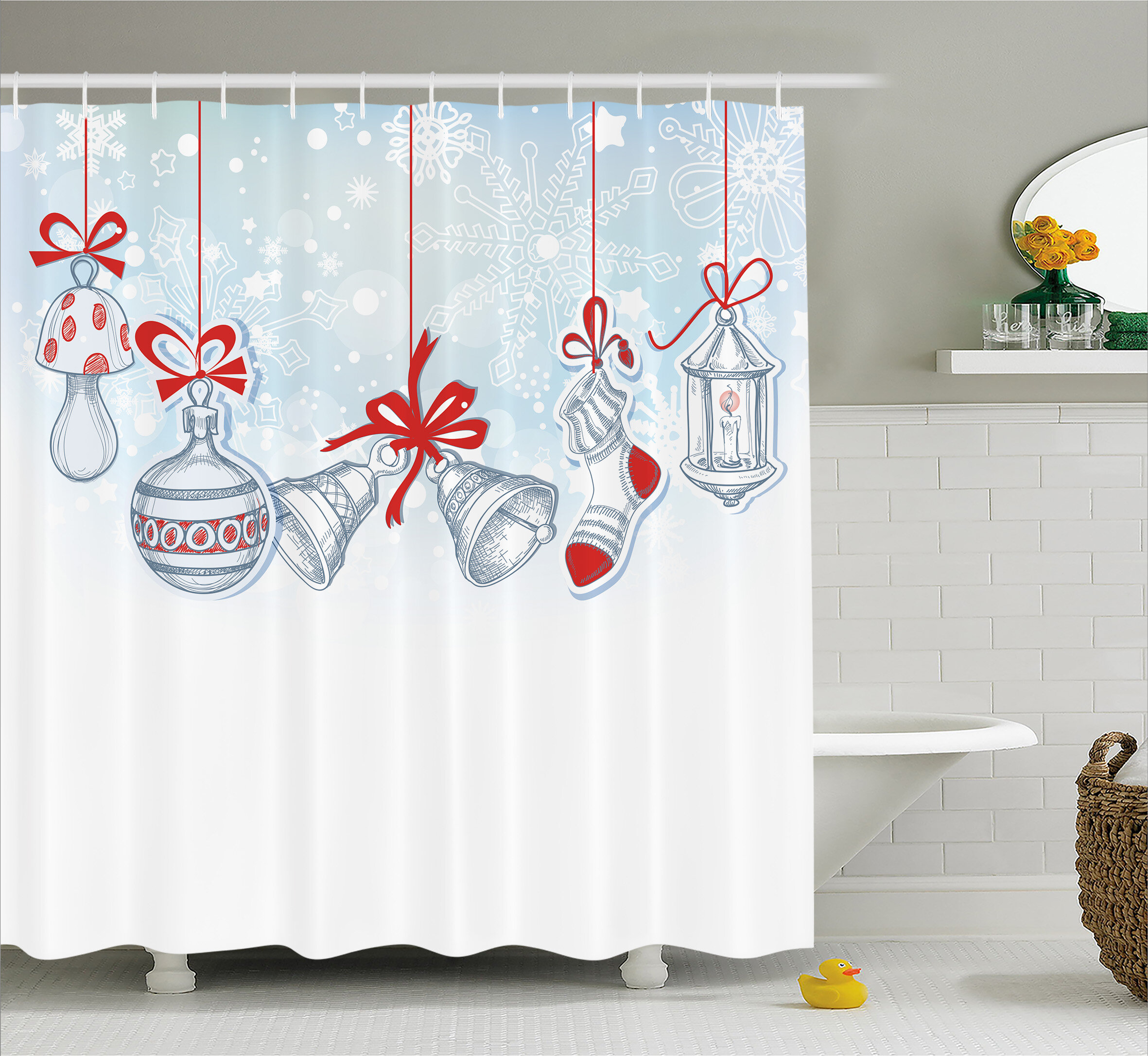The Holiday Aisle Christmas Retro Decorations Shower Curtain