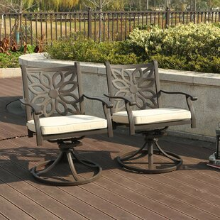 Outdoor Swivel Rocking Chair with Cushions (Set of 2) by PHI VILLA