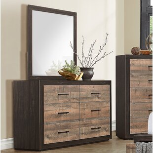 Union Rustic Slade 6 Drawer Double Dresser with Mirror Image