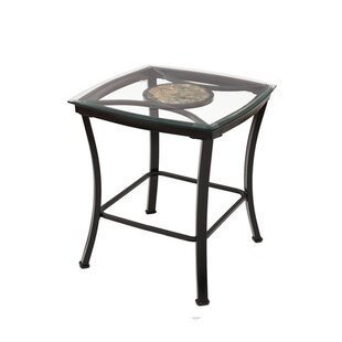 Eloise Glass Metal End Table by Fleur De Lis Living Comparison