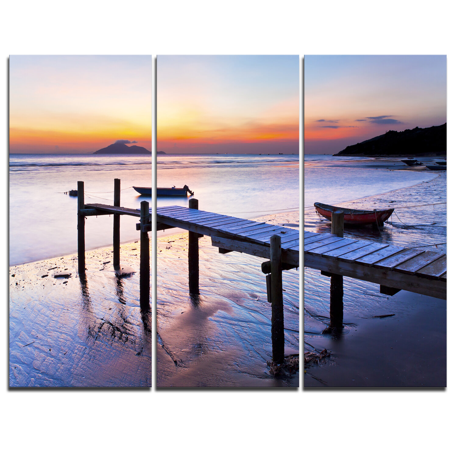 Designart Old Wooden Pier At Sunset 3 Piece Graphic Art On Wrapped Canvas Set Wayfair