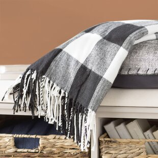 Farmersville Plaid Check Design Tassel Trim Throw
