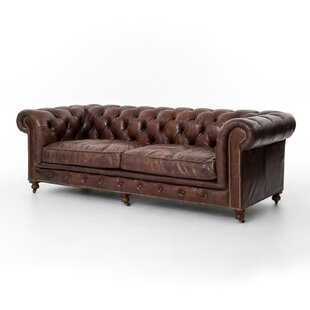 Greenwood Village Grain Chesterfield Leather Sofa
