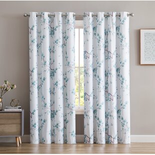 Dorcia Jasmine Floral/Flower Max Blackout Thermal Grommet Panel Pair (Set of 2) by Darby Home Co