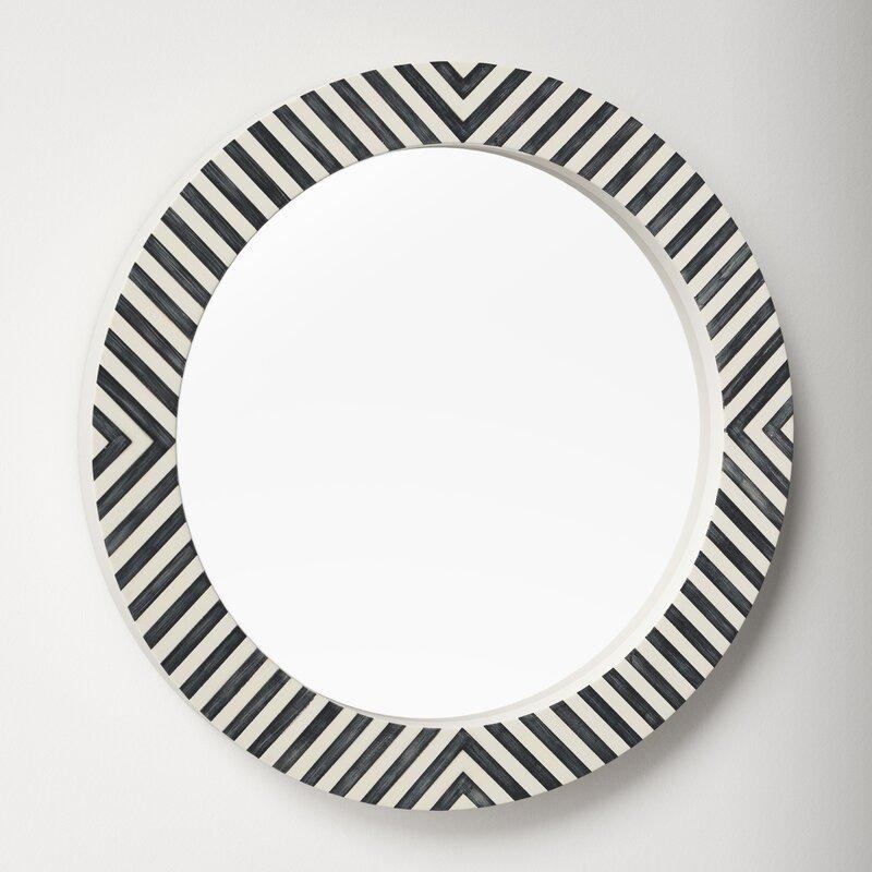 modern striped round wall mirror