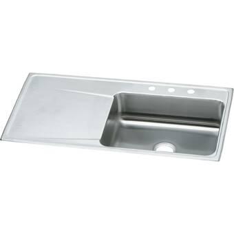 Elkay Lustertone 43 L X 22 W Drop In Kitchen Sink With Drainboard Wayfair