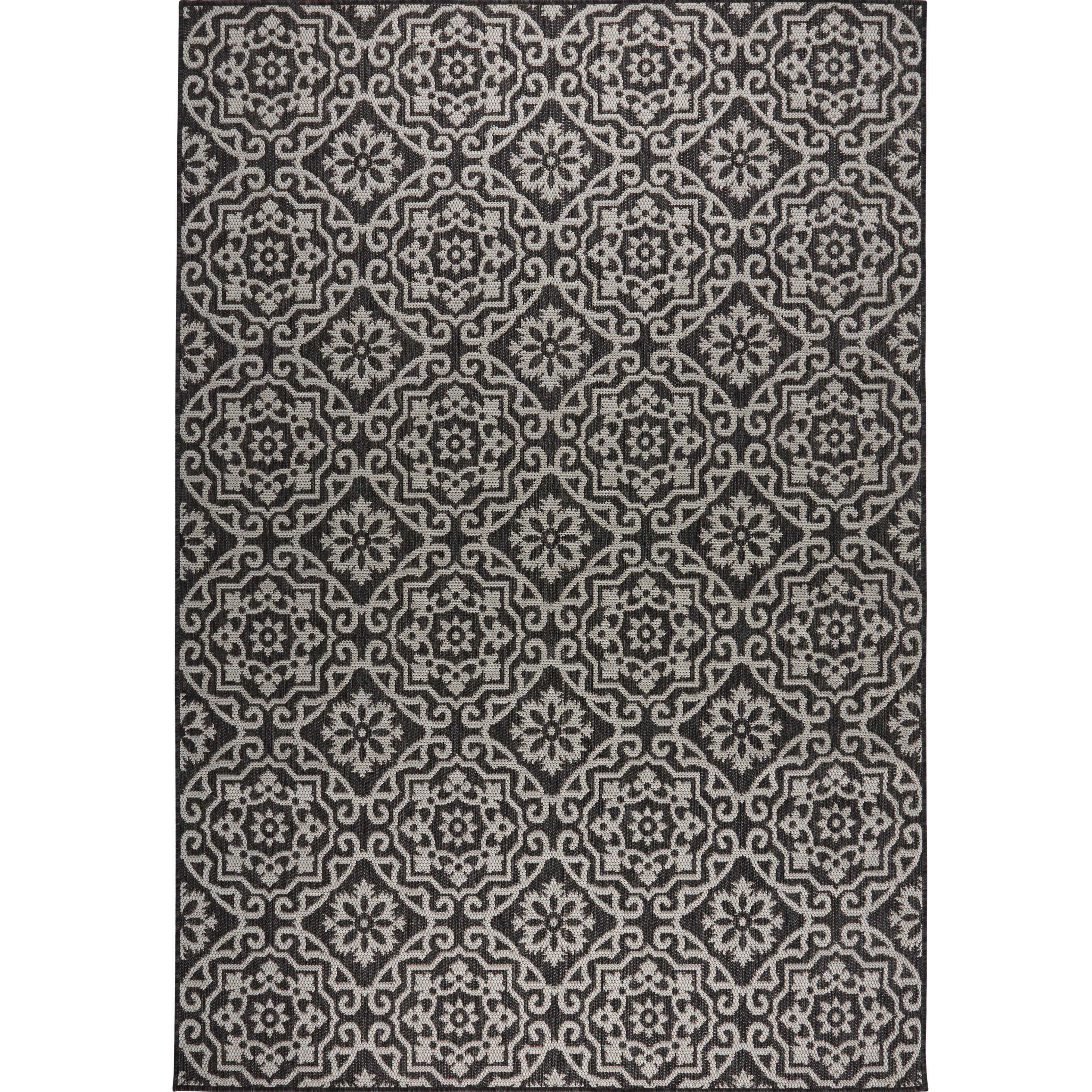Nicole miller tiled black gray indoor outdoor area rug wayfair