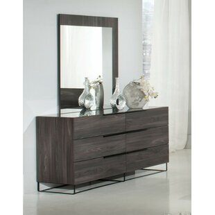 Brayden Studio Daughtery 6 Drawer Double Dresser with Mirror