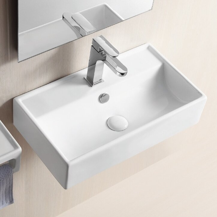 "Bathroom Sinks That Mount On The Wall caracalla ceramica ii 22"" wall mounted bathroom sink with overflow"