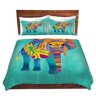 Bungalow Rose Woodstock Pom Graphic Design Whimsical Elephant Aqua Microfiber Duvet Covers