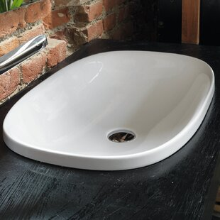 Check Prices Wild Ceramic Oval Drop-In Bathroom Sink ByWS Bath Collections