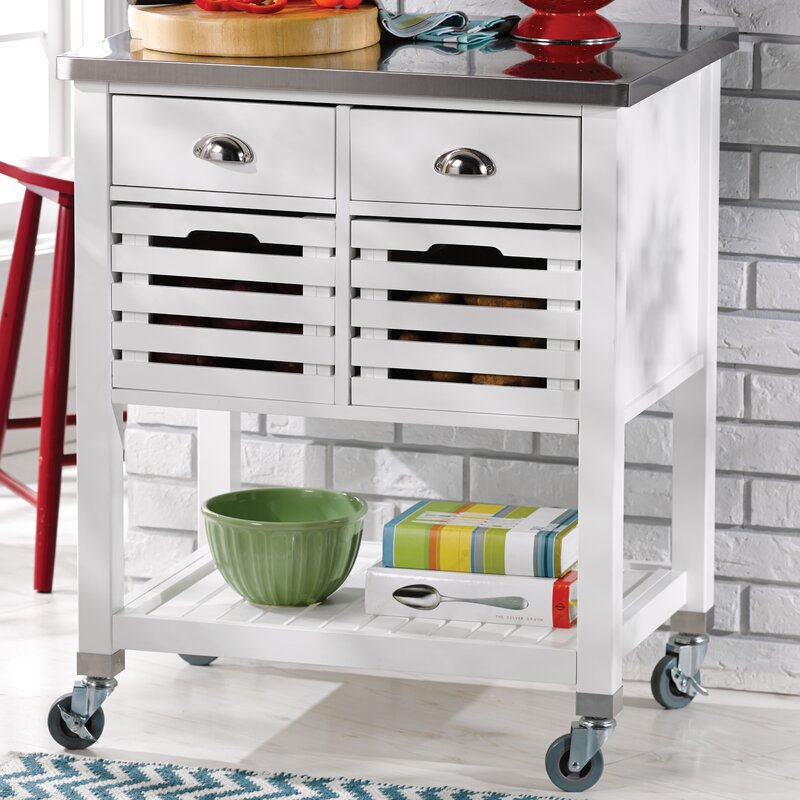 Great Fulton Kitchen Cart With Stainless Steel Top