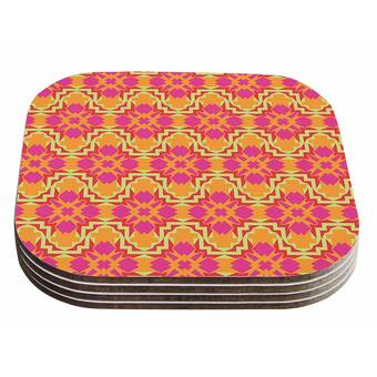 Set of 4 4 x 4 Multicolor KESS InHouse Alison CoxonPolka Dot Purple Yellow Coasters