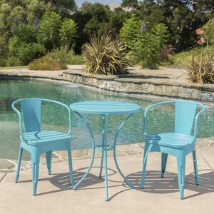 Reva Outdoor 3 Piece Iron Bistro Set