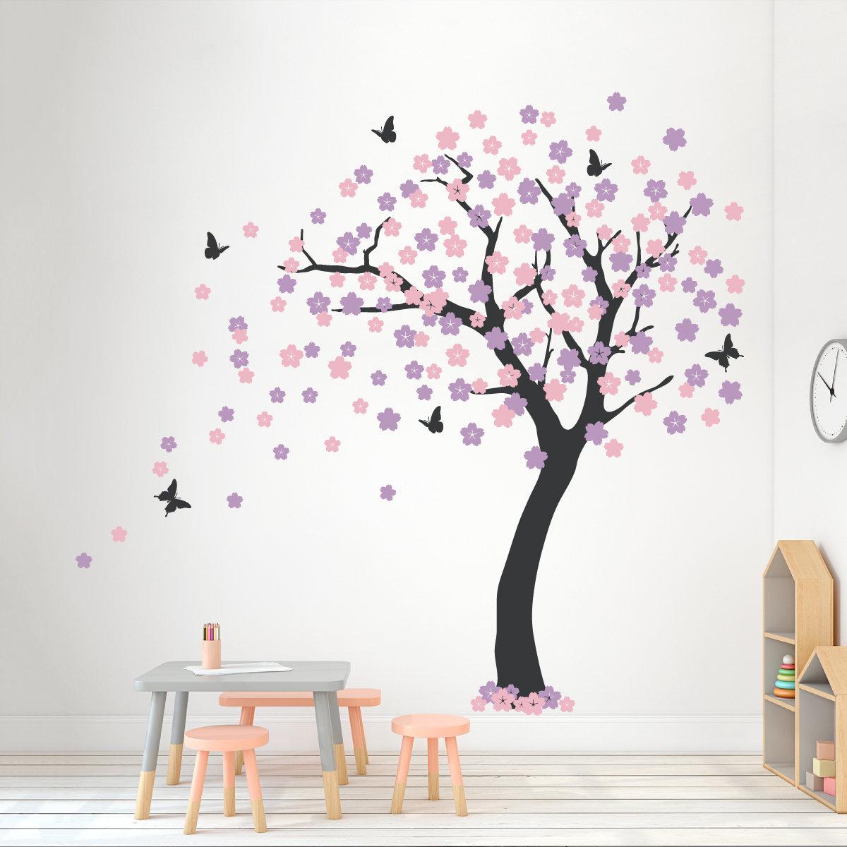 Zoomie Kids Cherry Blossom Tree Wall
